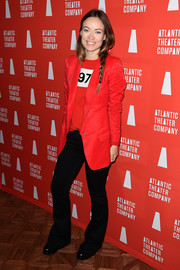 Olivia Wilde donned a red-on-red blazer and sweater combo for the Atlantic Theater Company Actors' Choice Gala.