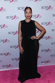 La La Anthony kept it understated in a sleeveless black maxi dress by Vera Wang at the Hot Pink Party.