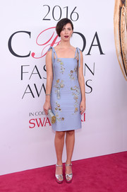Rebecca Hall chose a beaded blue dress with beribboned shoulder straps for the 2016 CFDA Fashion Awards.