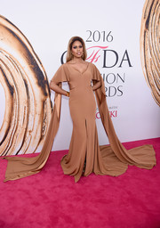 Laverne Cox was a standout at the 2016 CFDA Fashion Awards in a nude Marc Bouwer cutout gown with a long train and floor-sweeping sleeves.