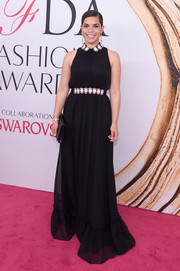 America Ferrera was the picture of elegance in a sleeveless black Kate Spade gown with a stone-embellished collar and waist during the 2016 CFDA Fashion Awards.