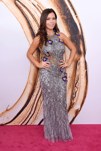 Monique Lhuillier chose a beaded, flower-appliqued gray gown for the 2016 CFDA Fashion Awards.