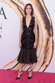 Alexa Chung looked fiercely chic in a plunging ruffle-hem leather dress by Atelier Prabal Gurung at the 2016 CFDA Fashion Awards.