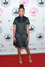 Yara Shahidi kept it classic in a little black shirtdress with gold buttons at the 2016 Carousel of Hope Ball.