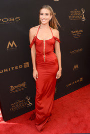 Renee Bargh channeled her inner mermaid in this slinky red halter dress by Dolce & Gabbana for the 2016 Daytime Emmy Awards.