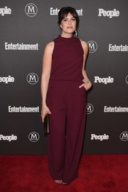 Mandy Moore opted for a simple sleeveless burgundy jumpsuit when she attended the Entertainment Weekly and People New York Upfronts.