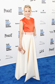 Rachel McAdams was all about easy glamour in a tricolor handkerchief-hem gown by Solace London at the Film Independent Spirit Awards.