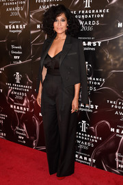 Tracee Ellis Ross looked both sharp and sexy in a black Paule Ka pantsuit teamed with a low-cut top at the 2016 Fragrance Foundation Awards.
