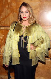 Jemima Kirke channeled the '20s with this all-over fringe Missoni coat for the Free Arts NYC benefit.