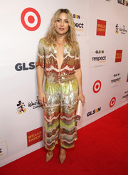 Kate Hudson brought some color and sparkle to the 2016 GLSEN Respect Awards with this swirl-patterned sequin jumpsuit by Temperley London.