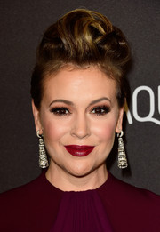 Alyssa Milano was all about cool elegance with her pompadour at the InStyle and Warner Bros. Golden Globes post-party.