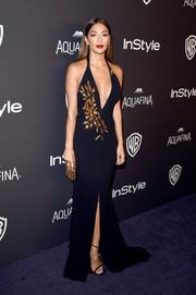 Nicole Scherzinger looked seductive in a deep-V black halter gown by Alex Perry at the InStyle and Warner Bros. Golden Globes post-party.