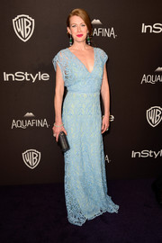 Mireille Enos looked ethereal in a pastel-blue lace gown at the InStyle and Warner Bros. Golden Globes post-party.