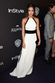 Jamie Chung looked simply elegant in a monochrome halter gown by Kaufmanfranco at the InStyle and Warner Bros. Golden Globes post-party.