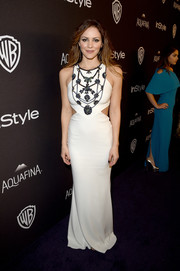 Katharine McPhee was svelte and trendy at the InStyle and Warner Bros. Golden Globes post-party in a white Badgley Mischka cutout gown with an embellished bodice.
