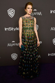 Lily Rabe looked enchanting in a colorfully embroidered Valentino gown at the InStyle and Warner Bros. Golden Globes post-party.