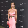 Rosie Huntington-Whiteley in a satin pink Gucci gown