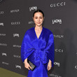 China Chow in a silky blue ensemble