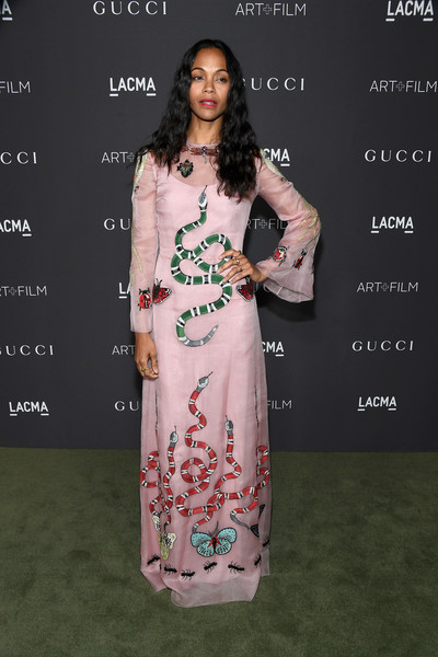 Zoe Saldana in an embroidered motif Gucci gown
