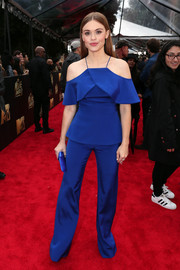 Holland Roden brought a cool pop of color to the MTV Movie Awards red carpet with this royal-blue cold-shoulder jumpsuit by Christian Siriano.