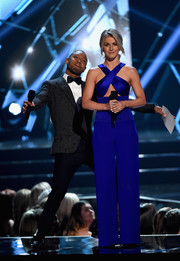 Julianne Hough was sleek and sexy in a royal-blue jumpsuit with a crisscross bodice while hosting the 2016 Miss USA competition.
