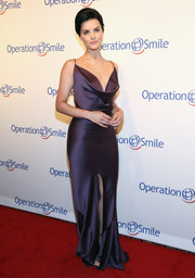 Jaimie Alexander ravished in a slinky plum-colored cowl-neck gown by Andrea Fascinetto at the Operation Smile Gala.