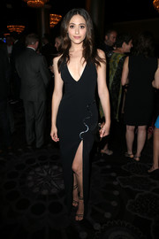 Emmy Rossum went for sexy glamour at the Television Critics Association Awards in a curve-hugging black David Koma gown with a deep-V neckline and a high slit.