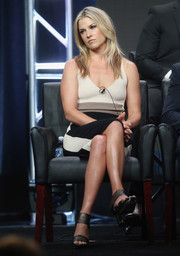 Ali Larter paired bronze broad-strap heels with a tricolor frock for day 13 of the 2016 Summer TCA Tour.