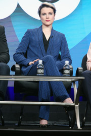 Evan Rachel Wood went for a mannish vibe in a patterned blue suit during day 4 of the 2016 Summer TCA Tour.