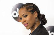 Regina King looked super cool wearing this knotted cornrow updo at the Disney ABC Summer TCA Tour.