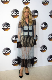 Piper Perabo chose a Philosophy di Lorenzo Serafini two-tone paneled lace dress with a button-up front for the Disney ABC Summer TCA Tour.