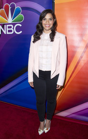 America Ferrera layered a boxy pink blazer over a grid-print shirt for the NBCUniversal Summer TCA Tour.