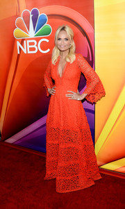 Kristin Chenoweth made a super-chic statement in this red Alexis maxi dress during the NBCUniversal Summer TCA Tour.