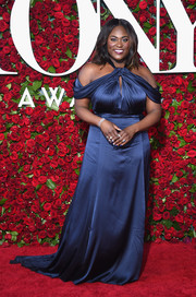 Danielle Brooks brought the cold-shoulder trend to the 2016 Tony Awards with this draped navy number by Derek Lam.