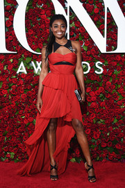 Patina Miller went flirty in a tiered red and black fishtail dress by J. Mendel for her 2016 Tony Awards look.