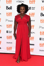 Uzo Aduba was the picture of elegance wearing this bright red V-neck gown by Christian Siriano at the TIFF premiere of 'American Pastoral.'