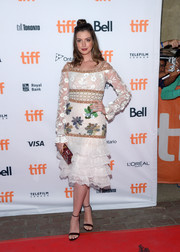 Anne Hathaway looked whimsical-chic in this embroidered cold-shoulder dress by Rodarte at the TIFF premiere of 'Colossal.'