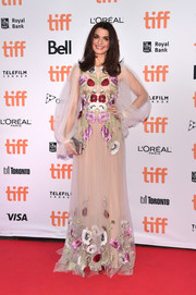 Rachel Weisz looked ethereal in this floaty floral-embroidered gown by Alexander McQueen at the TIFF premiere of 'Denial.'