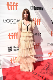 Felicity Jones looked oh-so-sweet in this tiered confection by Gucci at the TIFF premiere of 'A Monster Calls.'