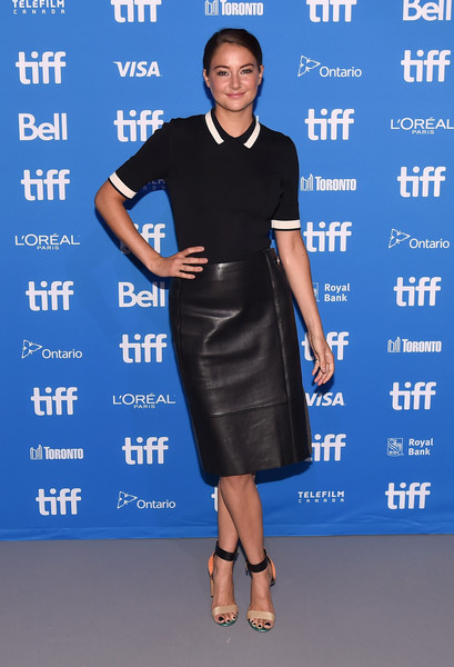 Shailene Woodley styled her black look with multicolored ankle-cuff sandals by Nicholas Kirkwood.