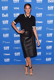 Shailene Woodley chose a black leather pencil skirt (also by GREY Jason Wu) to complete her outfit.