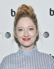 Judy Greer swept her hair up into a voluminous braided bun for the Tribeca Film Fest after-party for 'All We Had.'