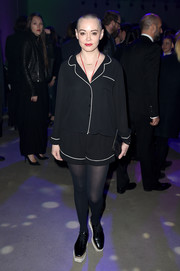 Rose McGowan looked ready for bed in her shorts and top ensemble.