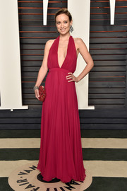 Olivia Wilde was classic and sexy in a wine-colored halter gown by Prabal Gurung at the Vanity Fair Oscar party.