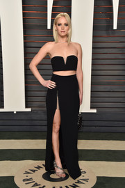 Jennifer Lawrence slipped into a tiny black crop-top by Alexander Wang for her Vanity Fair Oscar party look.