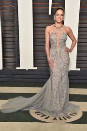 Michelle Rodriguez worked a sexy-glam embellished halter gown by Galia Lahav at the Vanity Fair Oscar party.