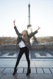 Elsa Hosk looked like a rock star in her distressed leather jacket while attending the Victoria's Secret photo op at the Eiffel Tower.