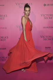 Josephine Skriver was red-hot in a plunging gown by Michael Costello at the Victoria's Secret fashion show after-party.