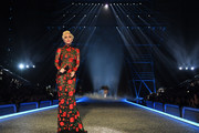 Lady Gaga performed at the 2016 Victoria's Secret fashion show looking sultry in a sheer floral gown by YolanCris.