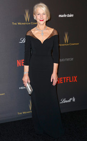 Helen Mirren looked ageless in a fitted black sheer-panel gown by Badgley Mischka at the Weinstein Company and Netflix Golden Globes after-party.